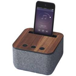 Altoparlanti personalizzati Bluetooth® Shae in tessuto e legno